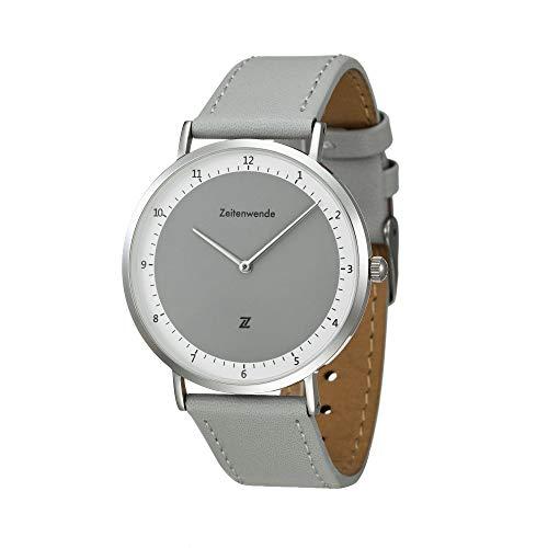 Zeitenwende Herren-Uhr Klassik-Serie grau/Zweilagiges italienisches Leder-Armband in grau/Schweizer Uhrwerk