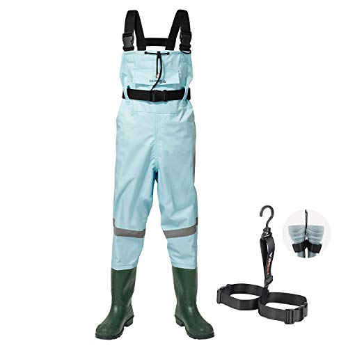 HISEA Kids Chest Waders Nylon/PVC Youth Fishing Waders for Toddler & Children Waterproof Hunting Waders with Boots & Reflect Safety Band