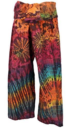 Pantaloni da Pescatore Thailandese in Cotone, Pantaloni Avvolgenti, Pantaloni da Yoga, Pantaloni Batik, M/L Marrone/colorato, Dimensione Indumenti:One Size, Pantaloni da Pescatore Pantaloni da Yoga