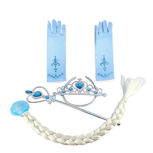 Tante Tina Eiskönigin / Schneeprinzessin Verkleidungsset mit Zauberstab, Krone, Zopf & Handschuhe - Aquamarin