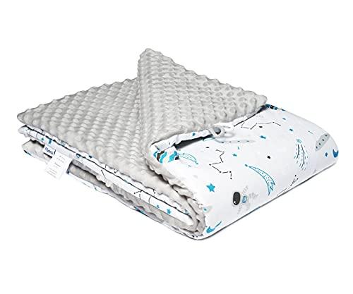 FlyIdeas Manta Recien Nacido Minky | Edredón para Cuna Minicuna de Bebes | 100% Algodon Certificado OEKO-TEX - Cosmos, 75x100 cm