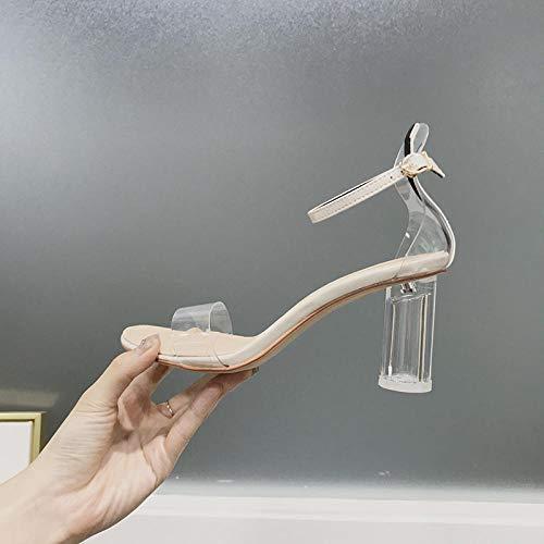 Riem satijnen bruiloft bruids schoenen,Damesschoen met open teen en dikke hak, transparante sandalen met hoge hakken-off-white_35,Flower Sandals Trouwschoenen