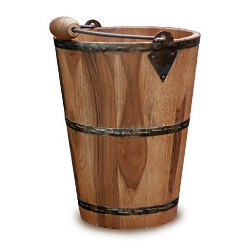 Antikas - Holzeimer als Deko,Pflanzenkübel, Übertopf aus Holz, Eimer mit Metallbeschlag
