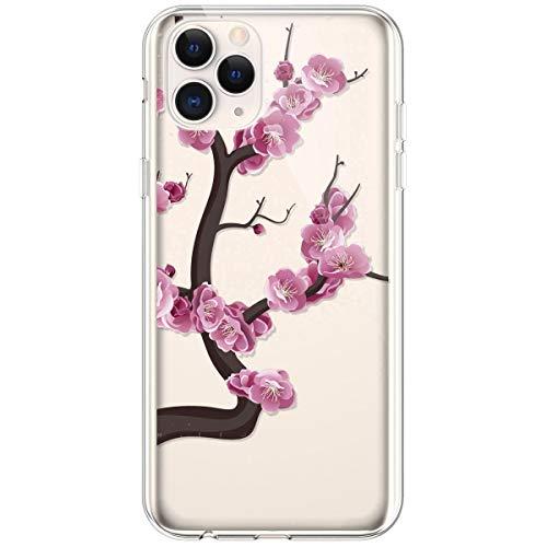 Kompatibel mit iPhone 11 Pro Hülle,Transparente Silikon TPU Handyhülle Crystal Clear Durchsichtig Schutzhülle Blumen Bunt Muster Ultra-dünn Weiche Stoßfest Bumper Case Tasche,Pinke Blume
