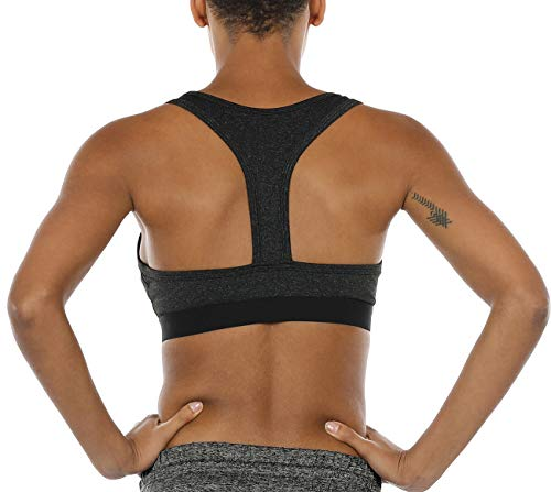 icyzone Racerback Sports Bras for Women - Women's Activewear Top, Workout Clothes, Running Yoga Bra (M, Black Heather)