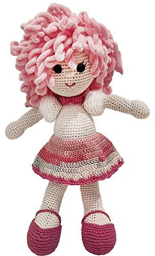 LOOP BABY - gehäkelte Puppe - handgemachte Spielzeug-Puppe in rosa/pink - Mädchen-Geschenk für Geburt, Geburtstag, Taufe - Einschlafhilfe & Kuscheltier - Weihnachtsgeschenk für Baby-Mädchen