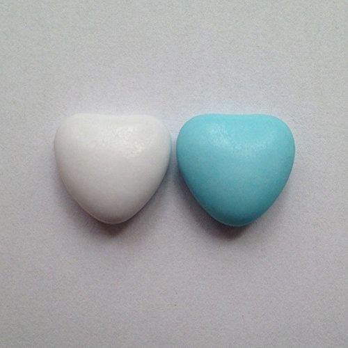 Schokoherzen weiß-hellblau 1 kg (ca 500-550 St.) - Gastgeschenke Hochzeit Bonboniere Candy Bar Give Aways - Herzdragees Schokolinsen Herz Schokodragees Schokoladenherzen alternativ zu Hochzeitsmandeln