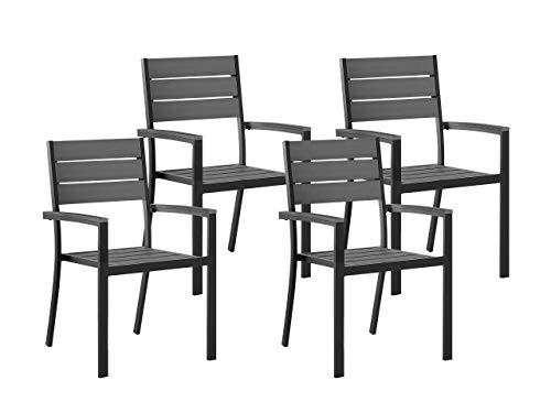 Beliani Moderner Gartenstuhl in Grau 4er Set Aluminium Kunstholz Prato