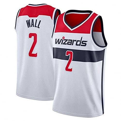 WYNBB 2021 NBA Hombre Jersey,Wizards n#2 Wall Ropa de Baloncesto,Camisetas Al Aire Libre Casual Mujer Redondo CháNdales,White,M