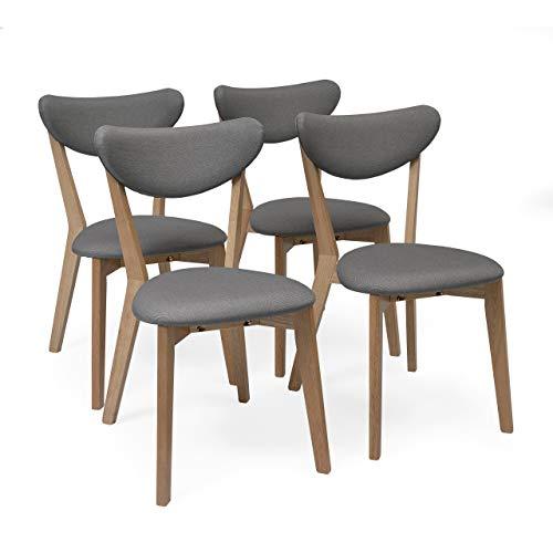 Homely - Pack de 4 sillas de Comedor MELAKA tapizadas en Tela y Patas de Madera de Roble (Gris)