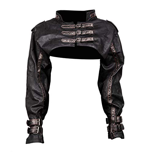 NUOBESTY Leather Long Sleeve Shrug Steampunk Retro Steampunk Jacket Retro Bolero Vintage Shrug for Party Performance Masquerade