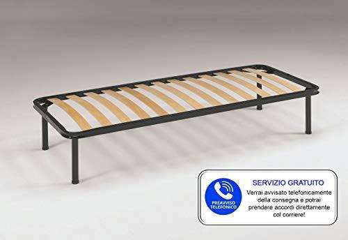 ZONANOTTE SRL Rete Letto Ortopedica Singola 80x190cm con n. 13 Doghe in Legno e Struttura in Acciaio H=40mm, Piedi Avvitabili, Altezza Totale 35cm