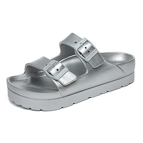 CHEERMORE Sandalias de plataforma para mujer, sandalias de cuña para caminar y verano, para mujer, plata, 38 EU