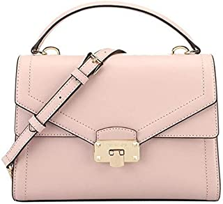Michael Kors Kinsley Leather Medium Satchel Crossbody Bag Purse Handbag, Blossom