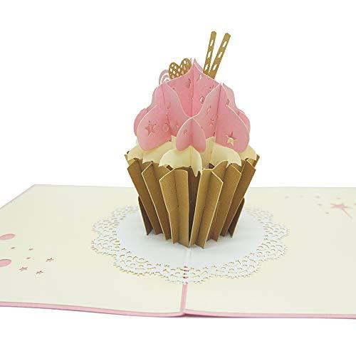 Handgefertigte 3D-Pop-Up-Grußkarten für Geburtstag, Muttertag, Jahrestag, Dankeskarte Ehemann, Tochter, Ehefrau, handgefertigte Abschlussfeier, Leideskarte, Blanko-Karte mit Umschlag (Eiscremekuchen)