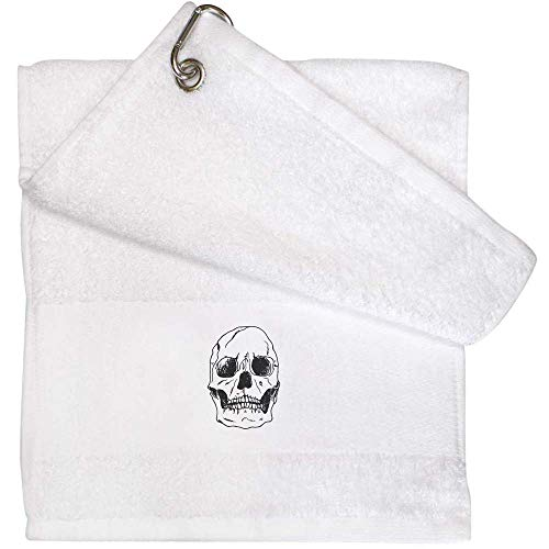 Azeeda 'Crâne Humain' Serviette de Golf / Gym Blanche...