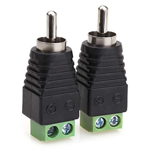 NANYI Conector RCA macho, conector RCA macho a terminal de tornillo AV, adaptador de audio y vídeo para cámara de seguridad CCTV (paquete de 2)