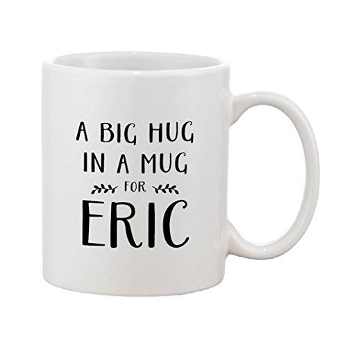 Un gran abrazo en una taza | nombre personalizado | regalo de vibraciones positivas | regalo personalizado, cerámica, Blanco y negro.