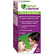 Nature & Nurture Baby & Child Vitamins. The Gentle Liquid multivitamin for Babies, Toddlers and Children. Made in The UK. 60 Doses (Lasting Twice as Long as The Leading Brand!).