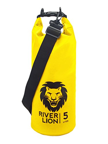 Adventure Lion Premium Waterproof Dry Bag with Shoulder Strap & Grab Handle, Roll Top Dry Sack Great for Kayaking, Swimming, Boating (Yellow, 20 Liter)