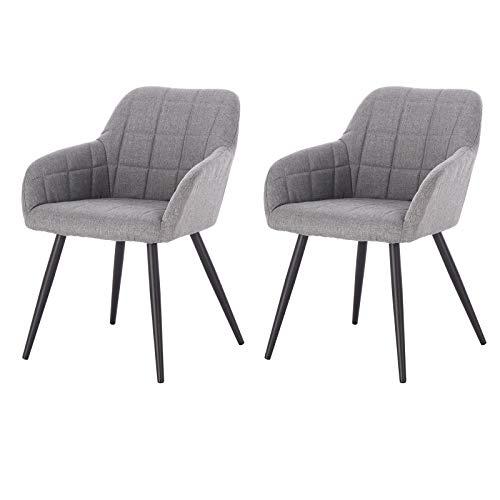 eSituro SDC0097-2 2X Küchenstuhl Esszimmerstuhl Besuchstuhl Konferenzstuhl Stuhl gepolstert aus Leinen mit Metallbein und Rüchlehne Hellgrau