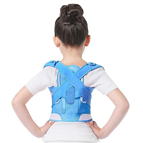 YLFC Corrector De Postura Ajustable for Niños Cinturón De Soporte De Espalda Corset Ortopédico for Niños Tirantes De Hombros Lumbares De Columna Vertebral Salud (Color : Blue, Size : Medium)