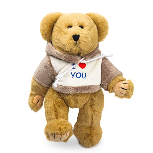 Bear of Allan Teddy Bear Stuffed Animal - Jointed Bear, I Love You Gift for Her, Embroidered Hoodie, Moveable Arms and Legs, 10 Inch, Tan
