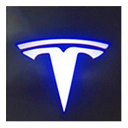 Luz de bienvenida a la puerta 2pcs compatible con Tesla Model S Tesla Model 3 X Y llevó la puerta de coche de insignia agradable luz fantasma de la lámpara de proyección de láser Sombra accesorio de l