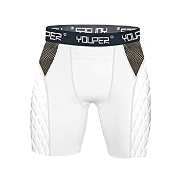 Youper Adult Elite Padded Sliding Shorts Compression Slider Shorts w/Soft Athletic Cup for Baseball Football Lacrosse Hockey MMA  White  No Cup  Adult - X-Large