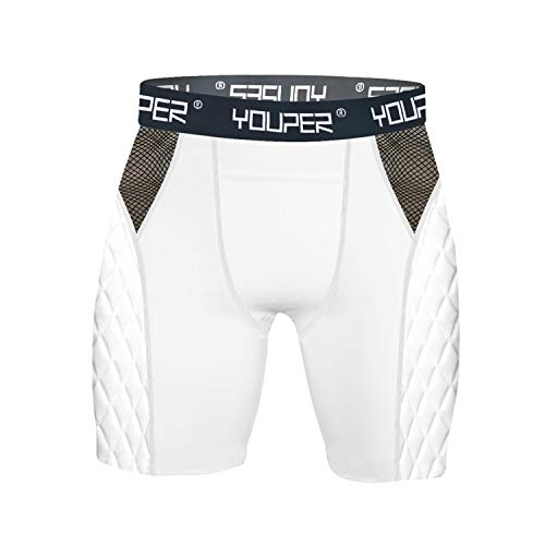 Youper Youth Elite Compression Sliding Shorts - Padded Slider Shorts with Soft Protective Athletic Cup for Baseball, Softball, Football, Lacrosse, MMA (White (No Cup), Youth - Small)