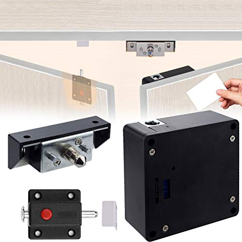 Electronic RFID Cabinet Lock with Slide Latch Lock for Double Door Cabinet Drawer, Hidden DIY Drawer Lock Fit for Wooden Cupboard Pantry Safe Shelf Doors, NFC Supported