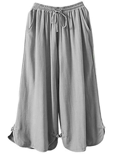 Mallimoda Damen Leinenhose Weites Bein Hose Elastische Taille Hosenrock mit Hüftgurt Art 2-Grau XXL