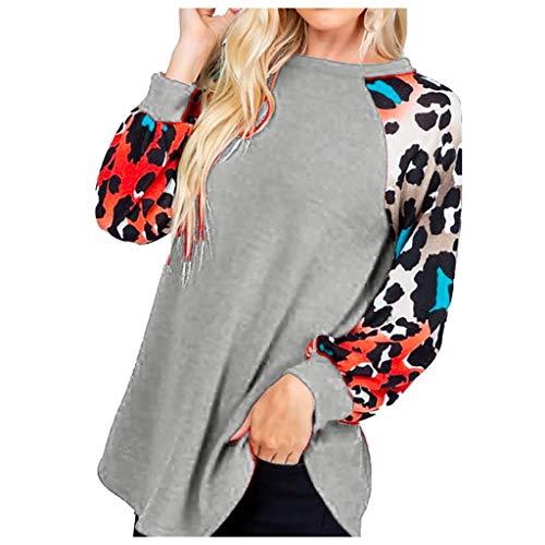 Dainzuy Tops para Mujer Estampado de Leopardo Manga Larga suéter Casual Suelto Ligero túnica Blusa,…