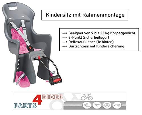 P4B Kindersitz für Hinterrad mit 3-Punkt Sicherheitsgurt Rahmenbefestigung (Dunkelgrau/Pink)