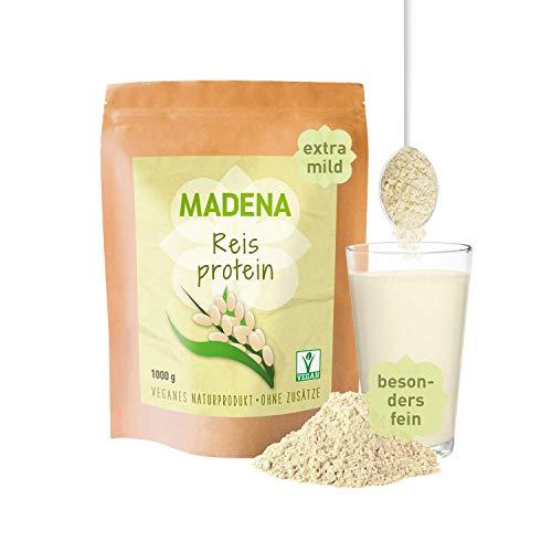 MADENA Reisprotein 1 Kg | Vegan Protein mit 87{598668c0aa0349649163e294229a48c0dd676ecdb1c59b43abb33585bc7a5202} Proteingehalt | Extra mild | Besonders fein | 100{598668c0aa0349649163e294229a48c0dd676ecdb1c59b43abb33585bc7a5202} Proteinisolat | Veganes Protein | Glutenfrei | laktosefrei