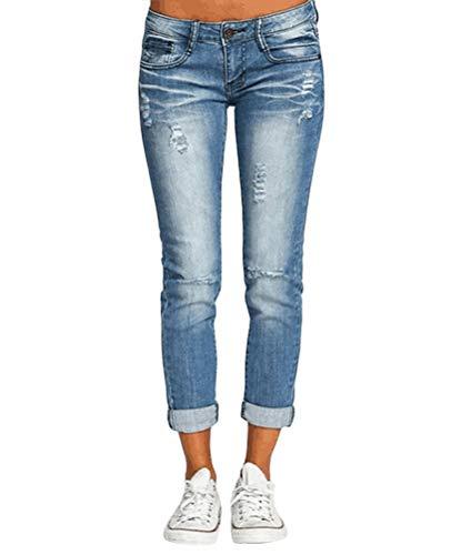ORANDESIGNE Damen Jeans Boyfriend Hoher Bund Jeanshose Locker Lang Boyfriend Jeans Blau Hose Jeans Straight Lässig Weich D Hellblau XS