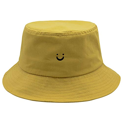 Face Smile Hat Summer Travel Bucket Beach Sun Hat Night Call Embroidery Visor Outdoor Cap (Yellow)