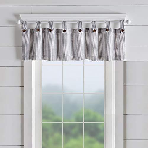 "Elrene Home Fashions Tucker Ticking Stripe Window Curtain Kitchen Valance, 60"" W x 15"" L (1, Gray"