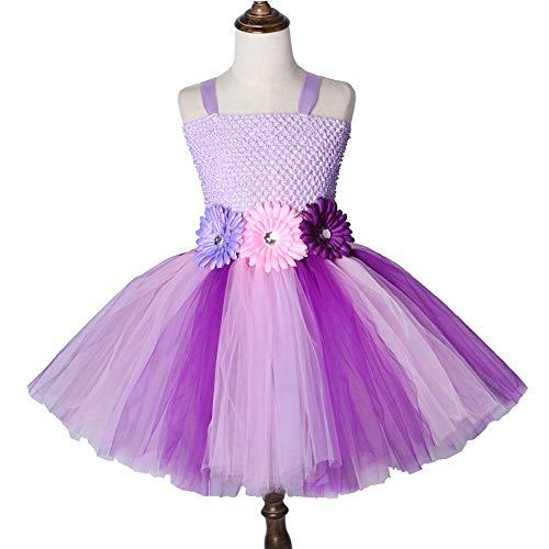 QWER Paars Roze Fee Prinses Tutu Jurken Voor Meisjes Tulle Bloem Meisje Feestjurken Kinderen Verjaardag Halloween Kostuum 2-12y