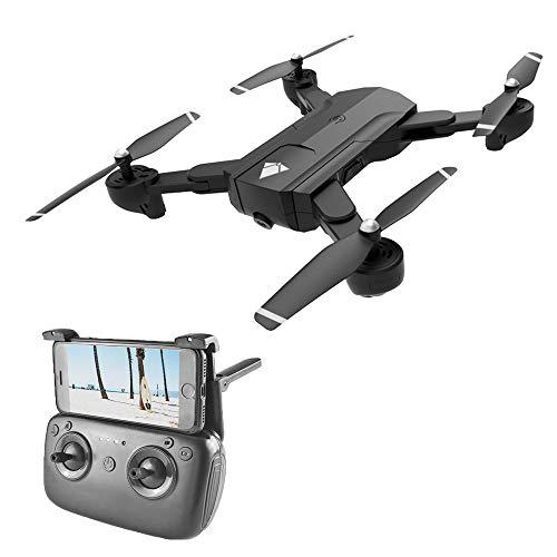 Haha Telecamera Drone Dual con Grandangolare-Regolabile Camera HD WiFi Quadricottero Funzione Seguimi, Altitudine Attesa, Controllo di più Lunga Distanza