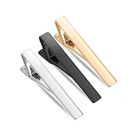 Krawattenklammer für Herren Klassische Krawattennadeln 3 Stück Business Hochzeit Tie Clip Set aus Edelstahl, Ideales Valentinstag Weihnachten Geschenk (Gold Schwarz Weiß)