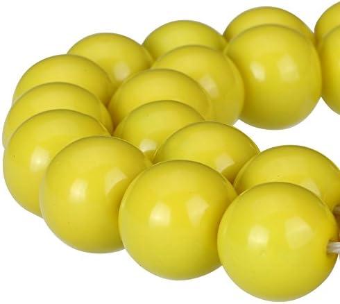 RUBYCA Round Opaque Painted Druk Czech Glass Beads Bulk Jewelry Making Supplies Strand Yellow product image