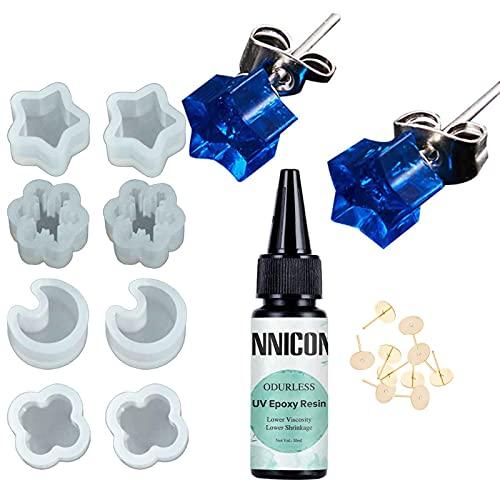 Kit de moldes de resina de silicona para pendientes de resina de epoxi UV, transparente, sin amarillear tipo duro epoxi de resina UV para hacer manualidades de bricolaje