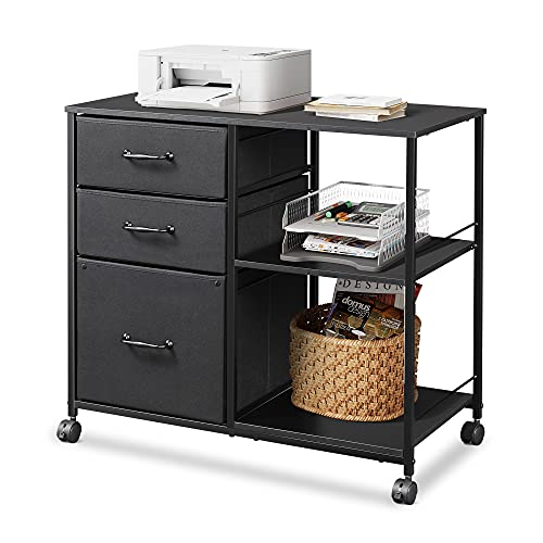 DEVAISE 3 Drawer Mobile File Cabinet, Rolling Printer Stand with Open Storage Shelf, Fabric Lateral Filing Cabinet fits A4 or Letter Size for Home...