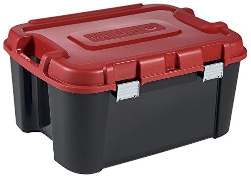 KETER | Malle Totem 140L Avec 4 Roulettes, Noir/rouge, 79,7 x 59,7 x 40,8 cm, Plastique