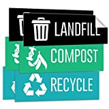 Pixelverse Design - Landfill Recycle Compost Stickers UV Outdoor & Indoor Adhesive Weatherproof Trash Can Vinyl - 3x9 Inches - 6 Pack Set