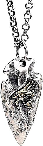 Yiffshunl Necklaces Vintage Arrowhead Flint Spear Head Pendant Necklace Egyptian Gold Eye of Horus for Men Women-Necklace Pendant Necklace for Women Men