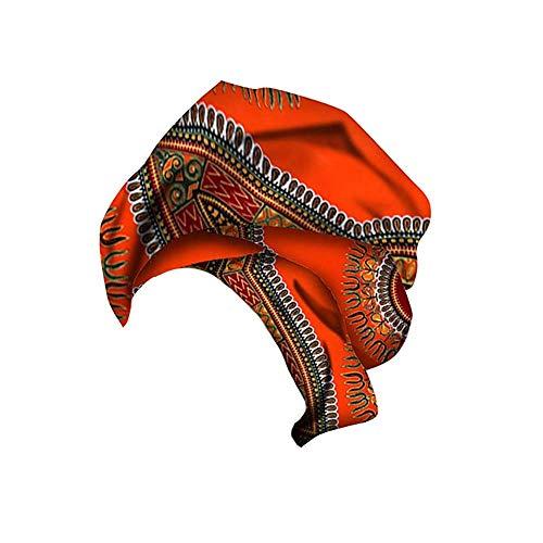 Xinvivion Pañuelo de Estampado de Algodón de cera Africana para Mujer - Cintas para la Cabeza Turbantes Hijab Envoltura de Cabello Elástico