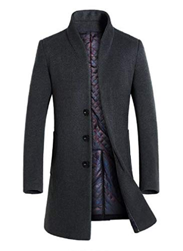 Lavnis Men's Trench Coat Long Wool Blend Overcoat Slim Fit Down Topcoat Thicken Style Gary S
