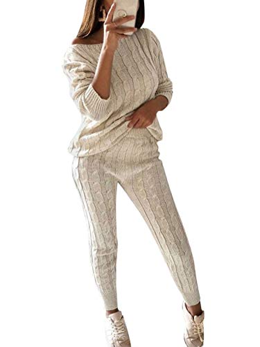Damen Strickanzug Sweatsuit Zweiteilig Hosenanzug Schulterfrei Oversize Langarm Einfarbig Loose Fit Herbst Winter Freizeitanzug 2 Stück Set Pullover Outfit